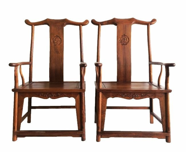 sc 1 st  LiveAuctioneers & Antique Chinese Huanghuali Yoke Back Chairs