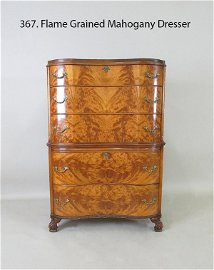 Flame Grained Mahogany High Chest Dresser