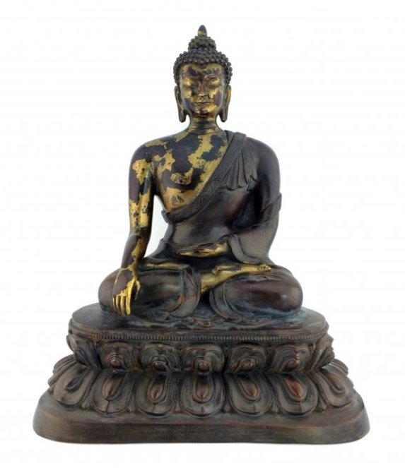 "15"" LARGE  GILT BRONZE BUDDHA"