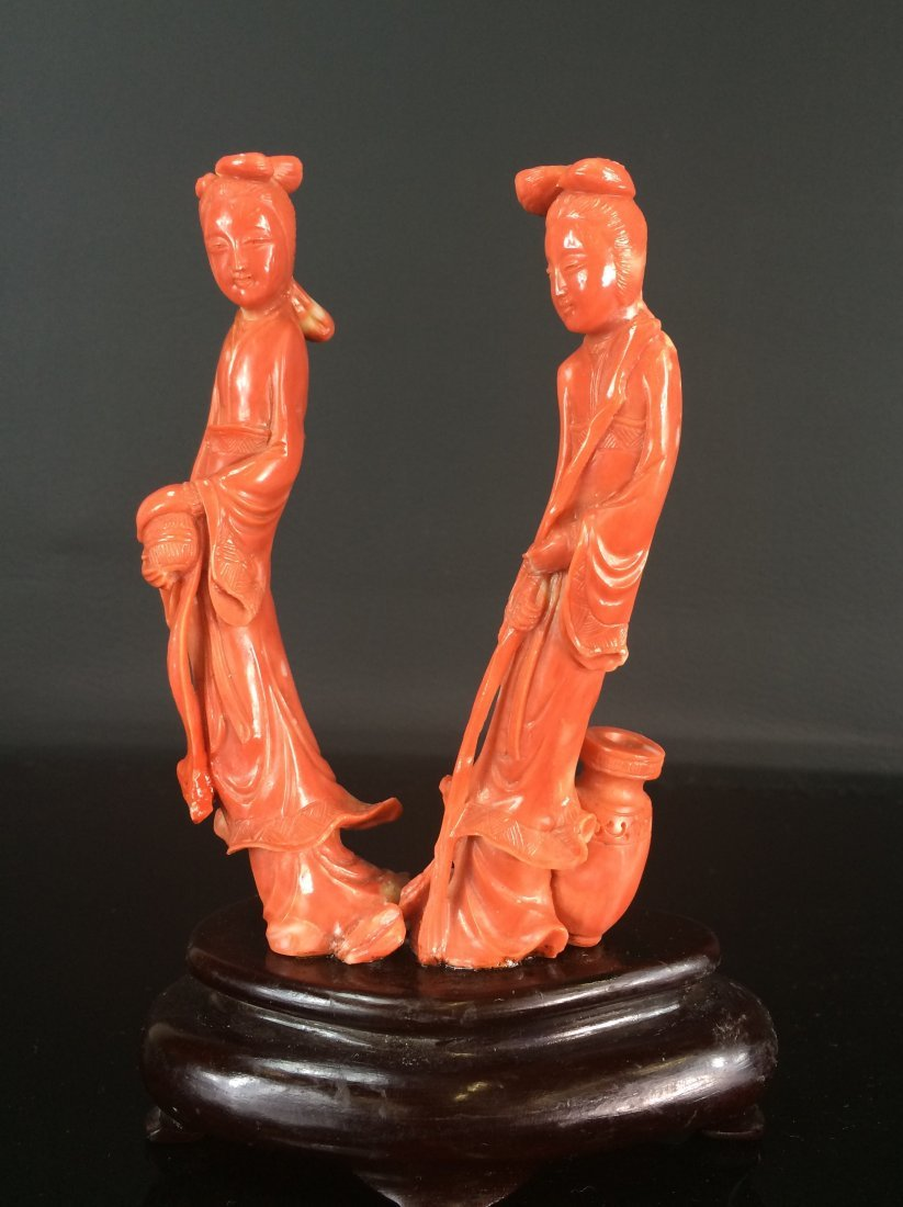 A FINE RED CORAL of  LADIES FIGURINES