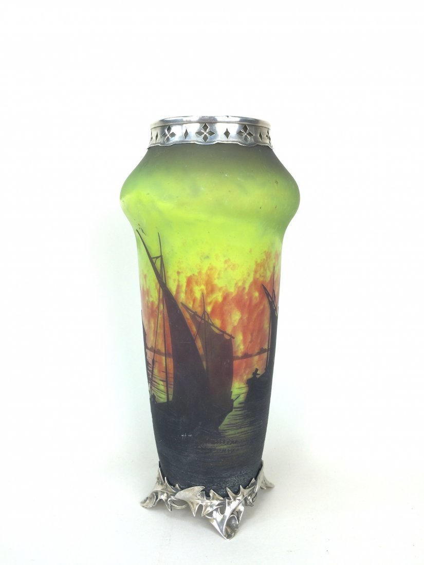 Daum Nancy Cameo Art Glass Vase With Silver Overlay