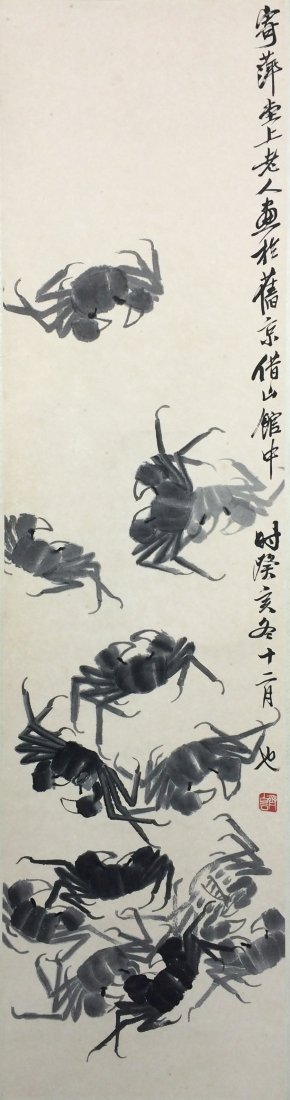 IMPORTANT QI BAISHI, CRABS WATERCOLOR PAINTING