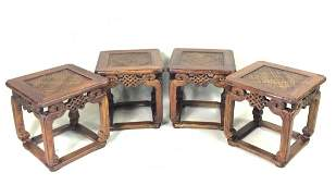 SET OF 4 PCS CHINESE HUANGHUALI SQUARE CHAIR