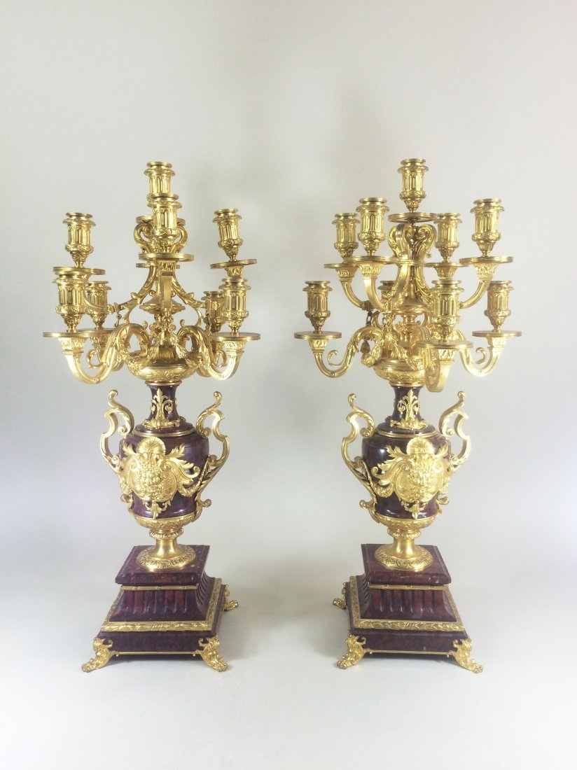 Pair of 19th c. French Gilt Candelabra on Marble