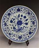 A MAGNIFICENT  MING BLUE AND WHITE LOTUS PLATE