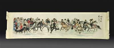 OVERSIZED CHINESE PAINTING OF THE RIDERS