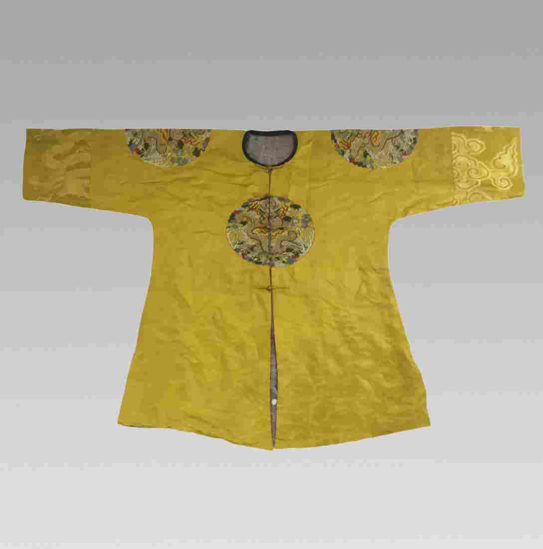 18TH/19TH C.  DRAGON EMBROIDERY IMPERIAL SILK  ROBE