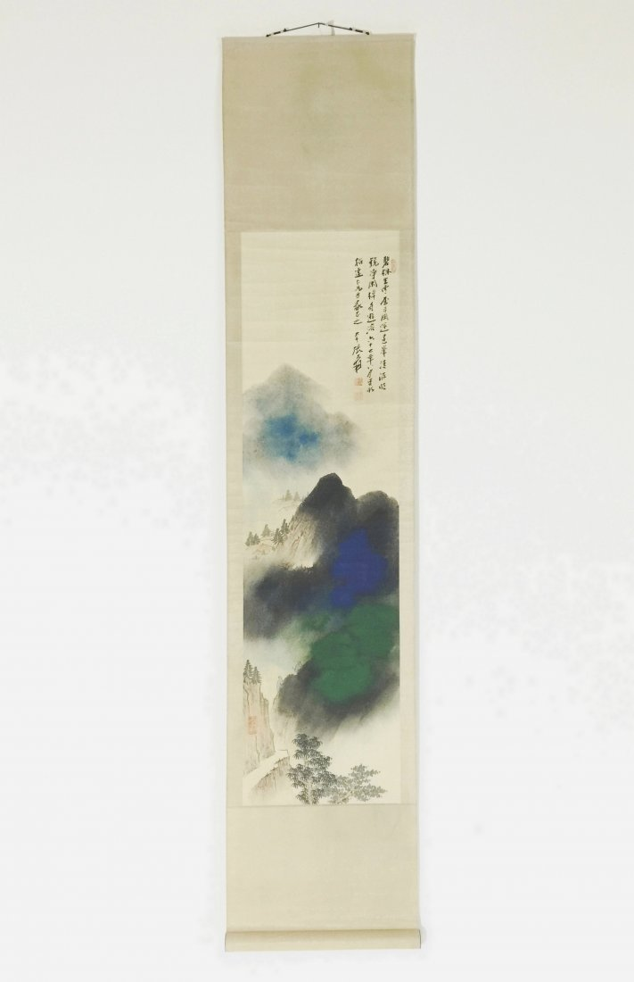 CHINESE SCROLL PAINTING OF BLUE MOUNTAIN