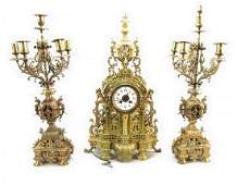 19TH C. LOUIS XV STYLE MARQUETRY INLAID CLOCK