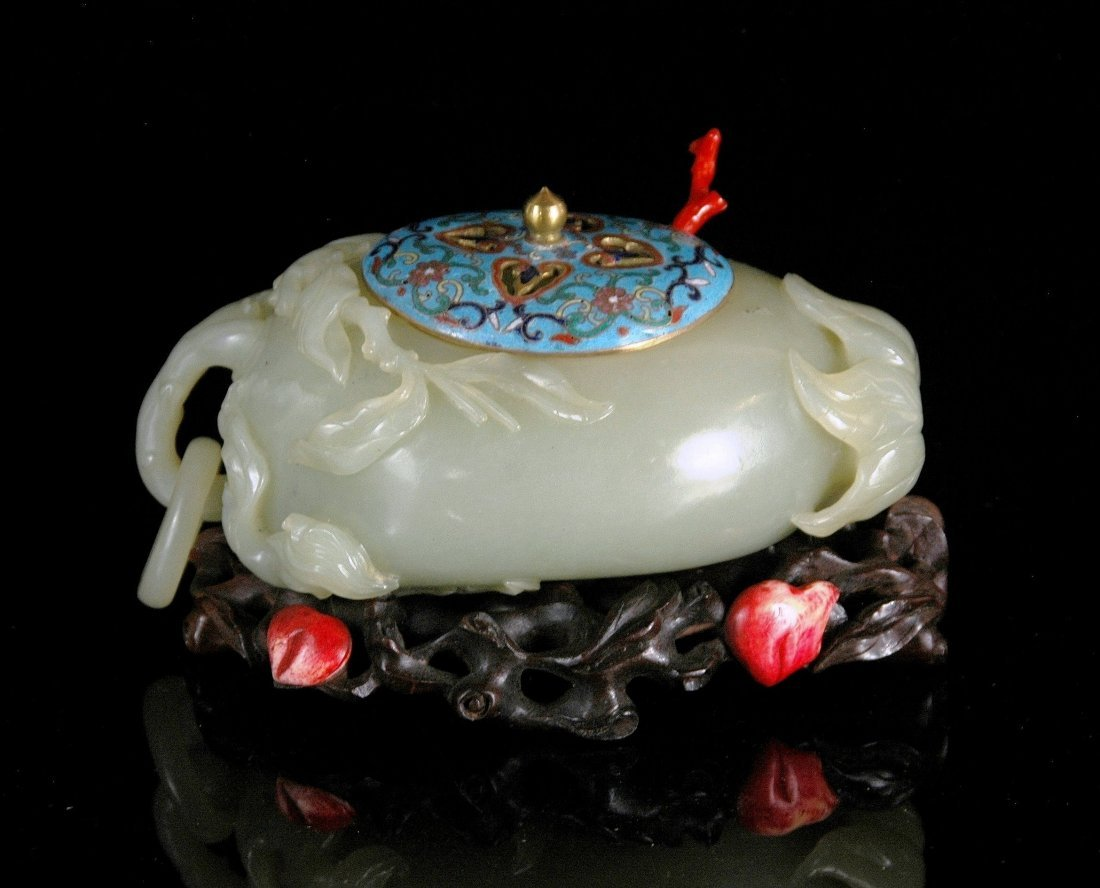 JADE BRUSH WASHER WITH CLOISONNE LID ON STAND