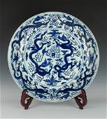 MING BLUE AND WHITE DRAGONS CHARGER