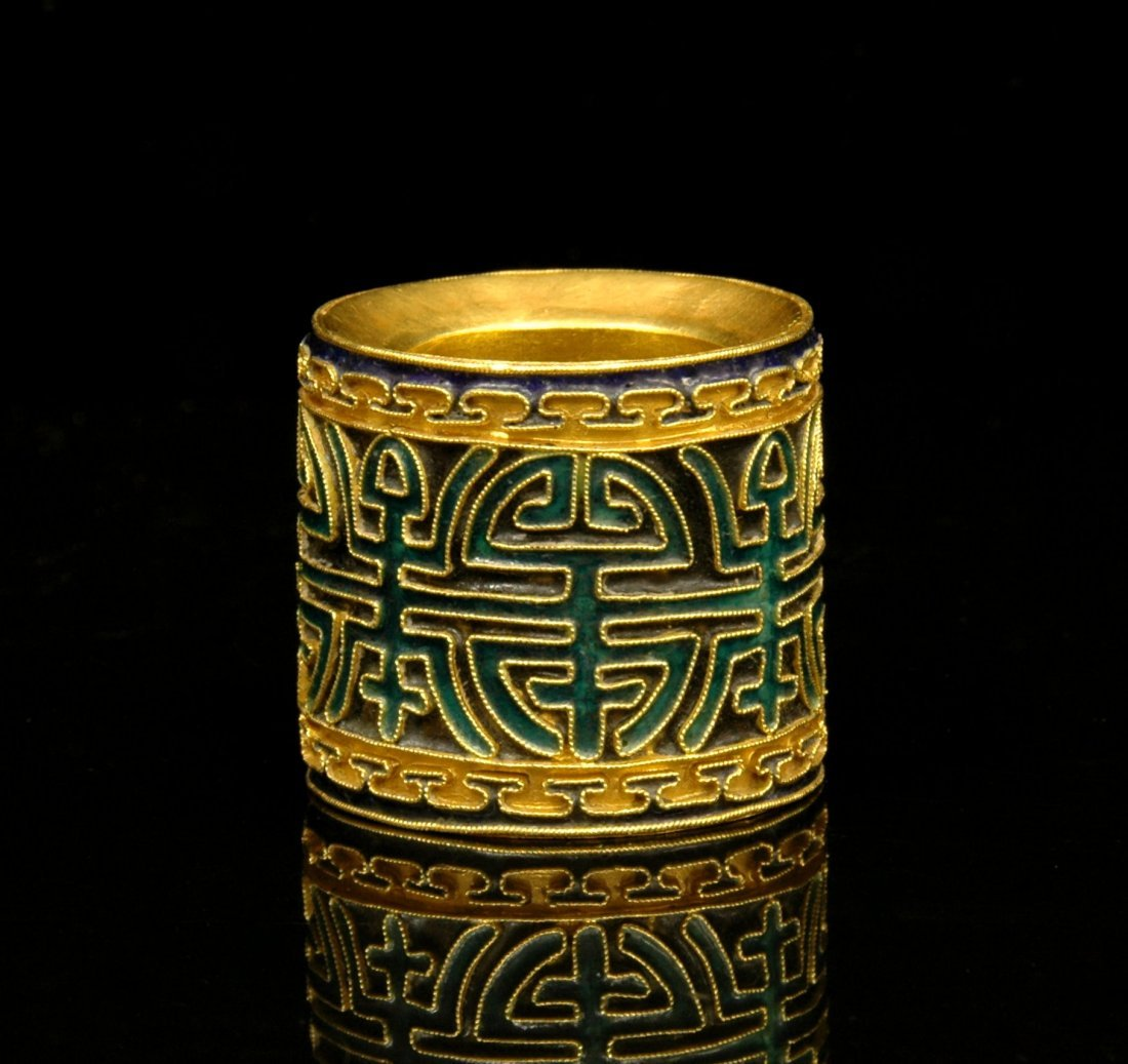RARE, VERY FINE QIANLONG ENAMELED GOLDEN RING