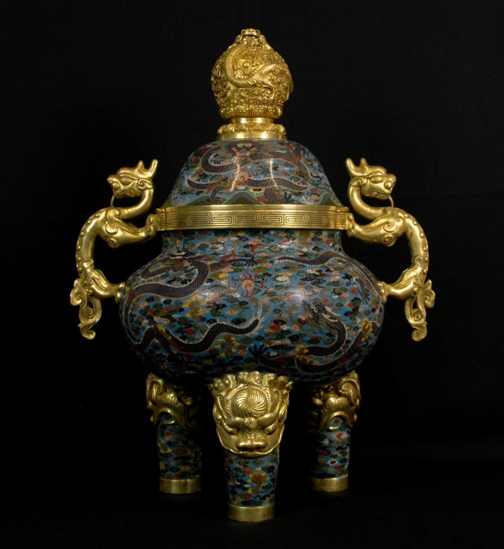 "MAGNIFICENT LARGE 24"" CLOISONNE COVERED TRIPOD CENSER"