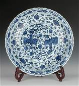 MING BLUE AND WHITE DOUBLE PHOENIX CHARGER