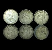 6 CHINESE SILVER DOLLAR COINS, REP. 3 (1914)