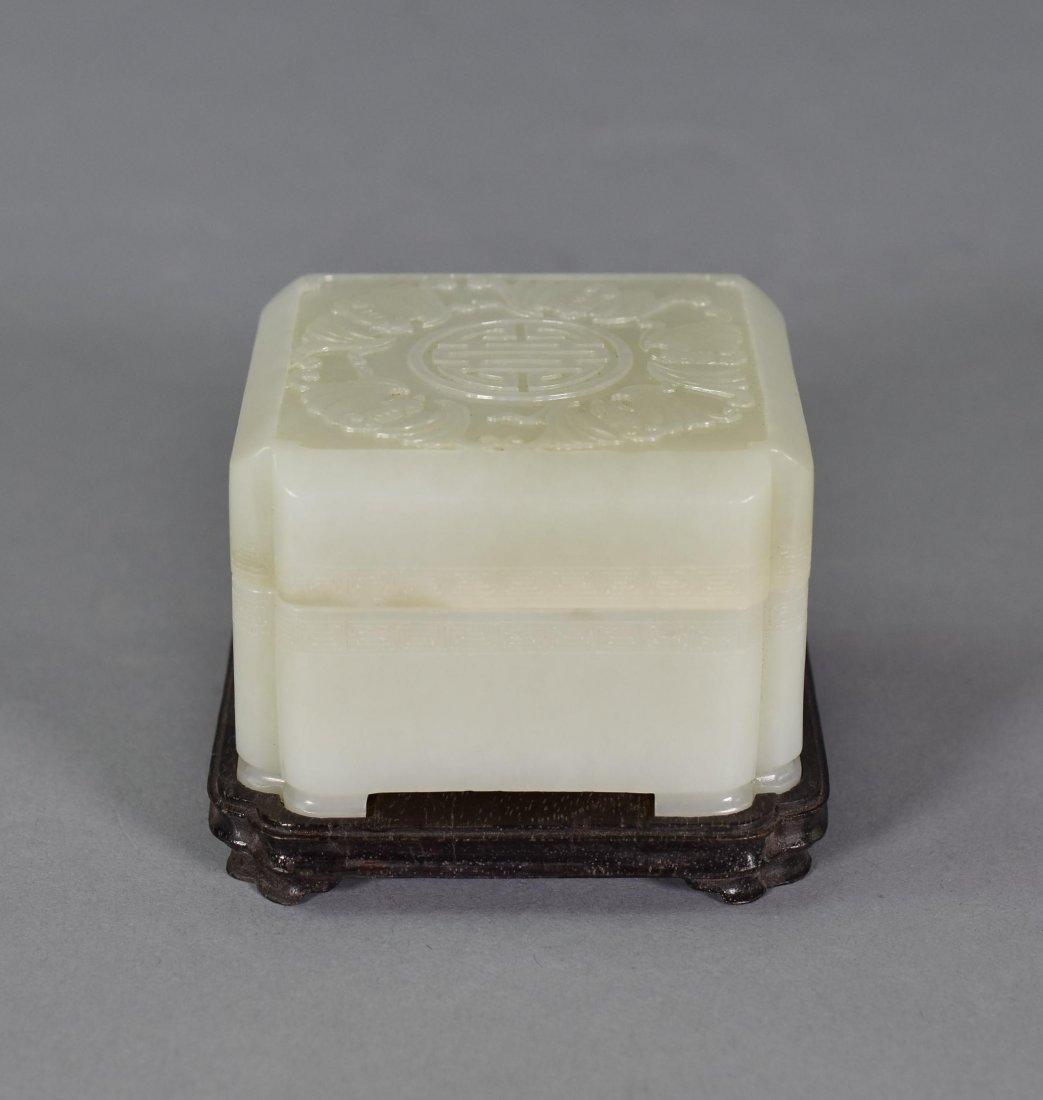 JADE COVERED TRINKET BOX W/ BATS ENCIRCLED SHOU
