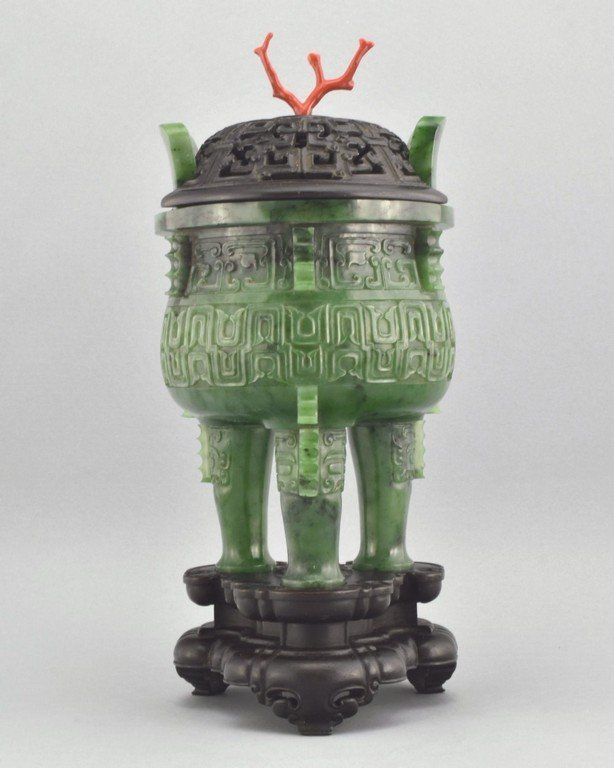 SPINACH GREEN JADE COVERED TRIPOD CENSER W/ RED CORAL