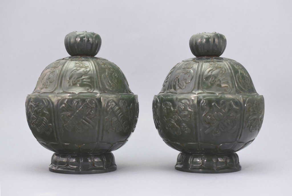 PAIR OF SPINACH-GREEN JADE COVERED FLOWER SHAPE JARS