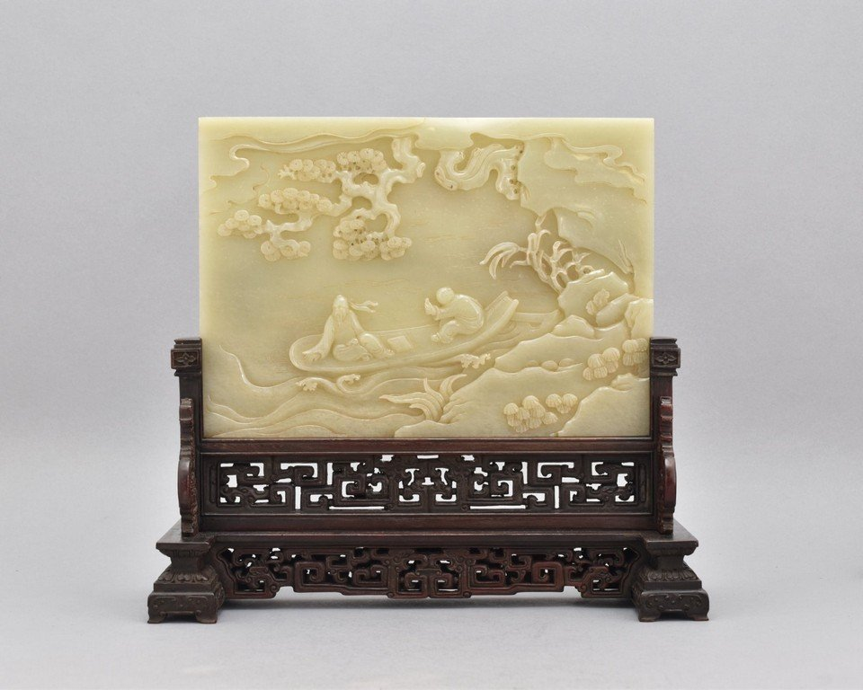 CARVED JADE PANORAMIC TABLE SCREEN