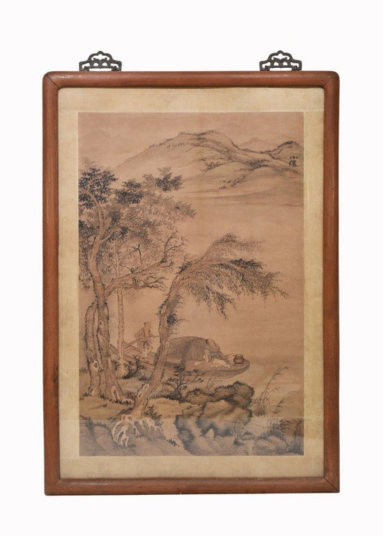 CHINESE WATERCOLOR HAND PAINTING, FIGURES ON BOAT.