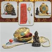 BRONZE BUDDHA MINIATURE IN GILT SILVER INLAID TRINKET