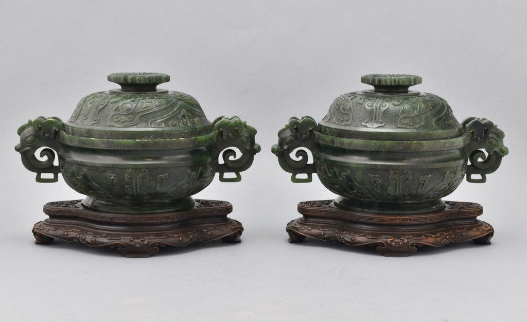 PAIR OF SPINACH-GREEN JADE COVERED CENSER ON STANDS