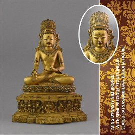 IMPORTANT MING DYNASTY GILT BRONZE BUDDHA
