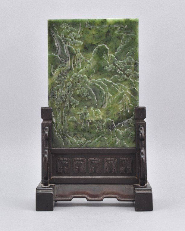 CARVED SPINACH GREEN JADE TABLE SCREEN OF THREE SAGE IN