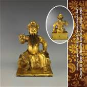 IMPORTANT QING GILT BRONZE BUDDHA OF GUANYU FIGURE