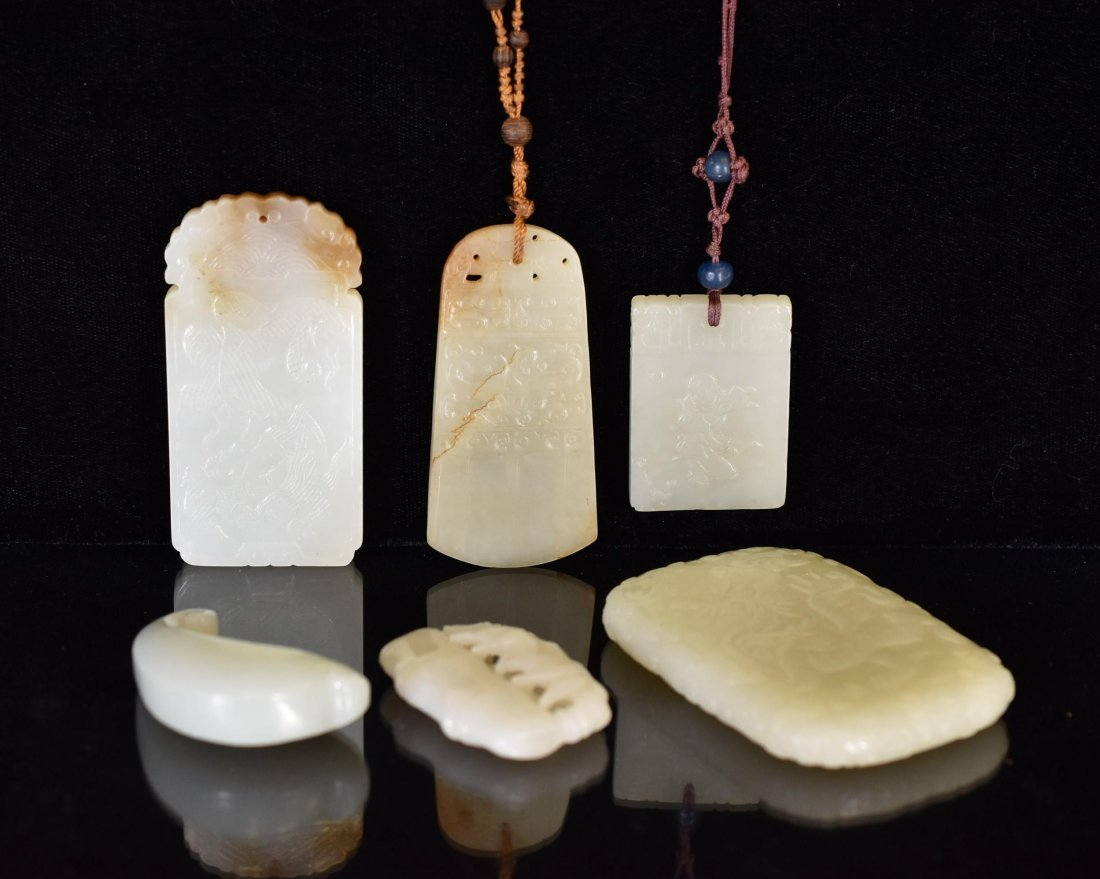 GROUP OF 6 (SIX) PCS CARVED JADE PENDANTS