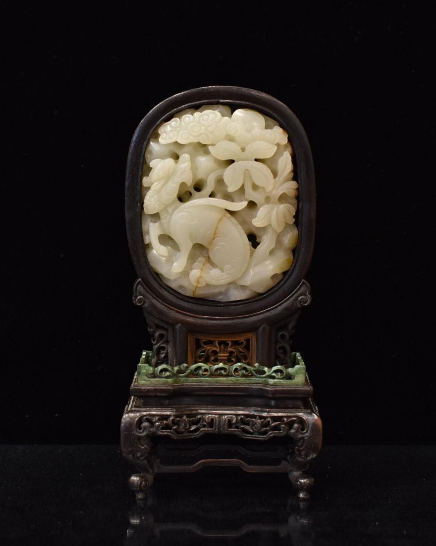 OPEN WORK JADE CARVING KIRIN TABLE SCREEN