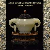 A FINE CARVED WHITE JADE COVERED CENSER ON STAND
