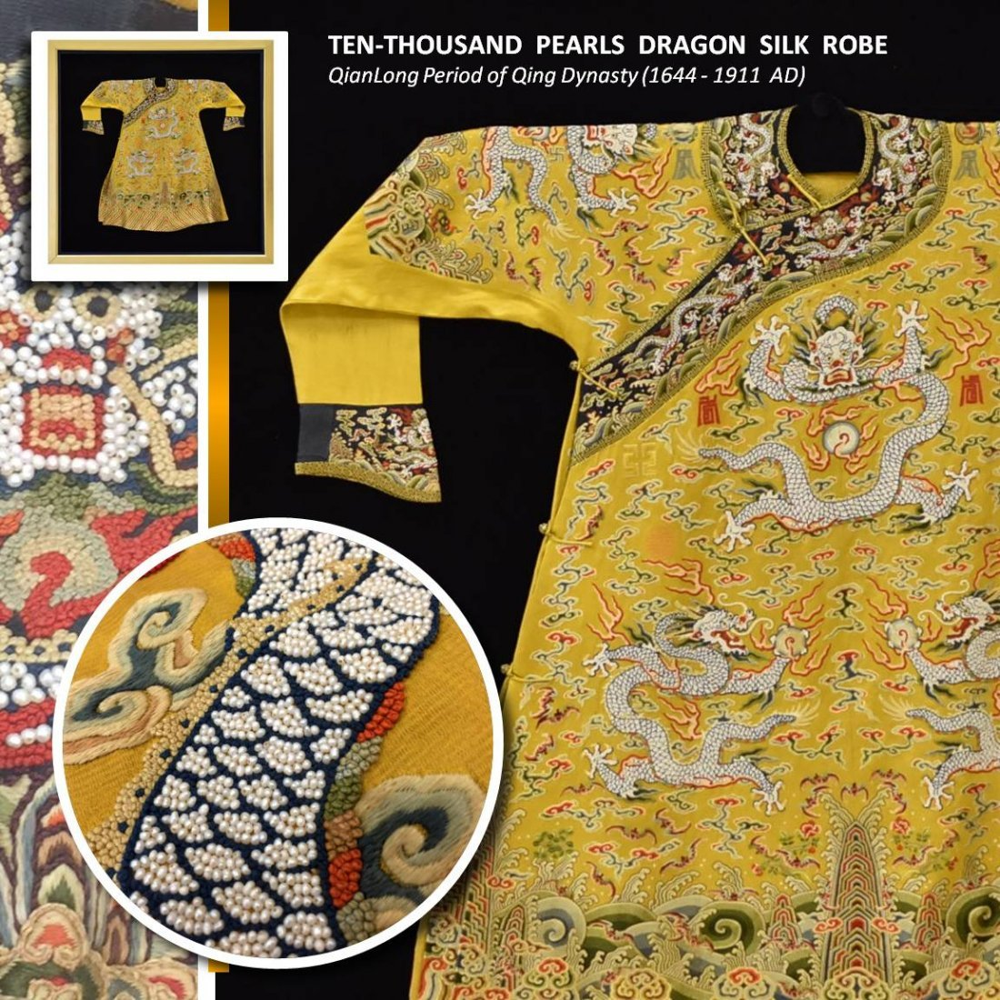 RARE 17/18TH C, TEN-THOUSANDS PEARLS DRAGON SILK ROBE