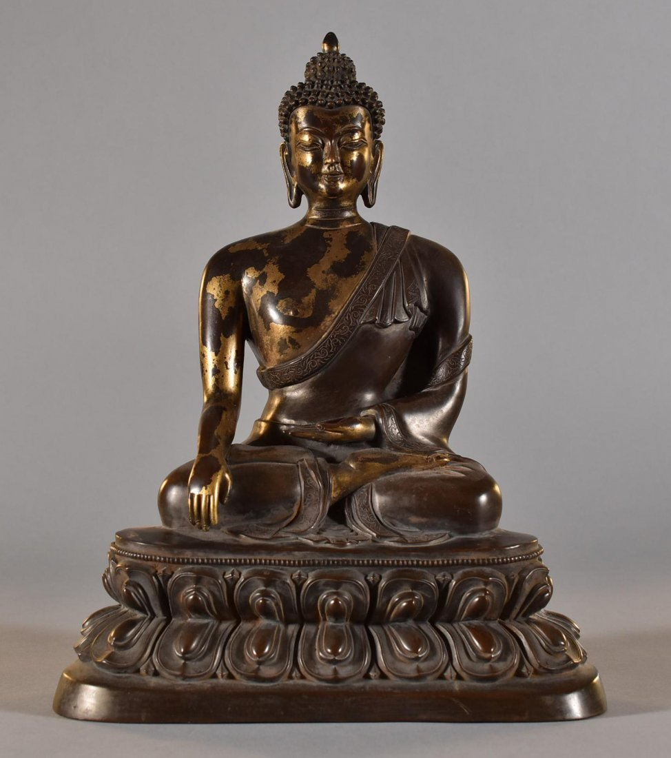 "15"" LARGE GILT BRONZE SEATED BUDDHA, KANGXI MARK"