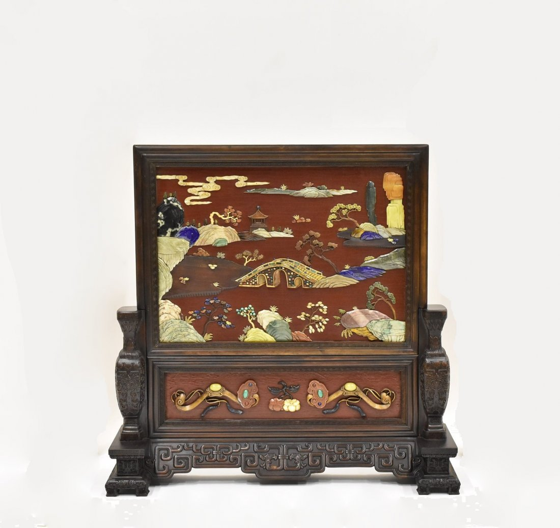 A HARD STONES INLAID RED LACQUERED TABLE SCREEN