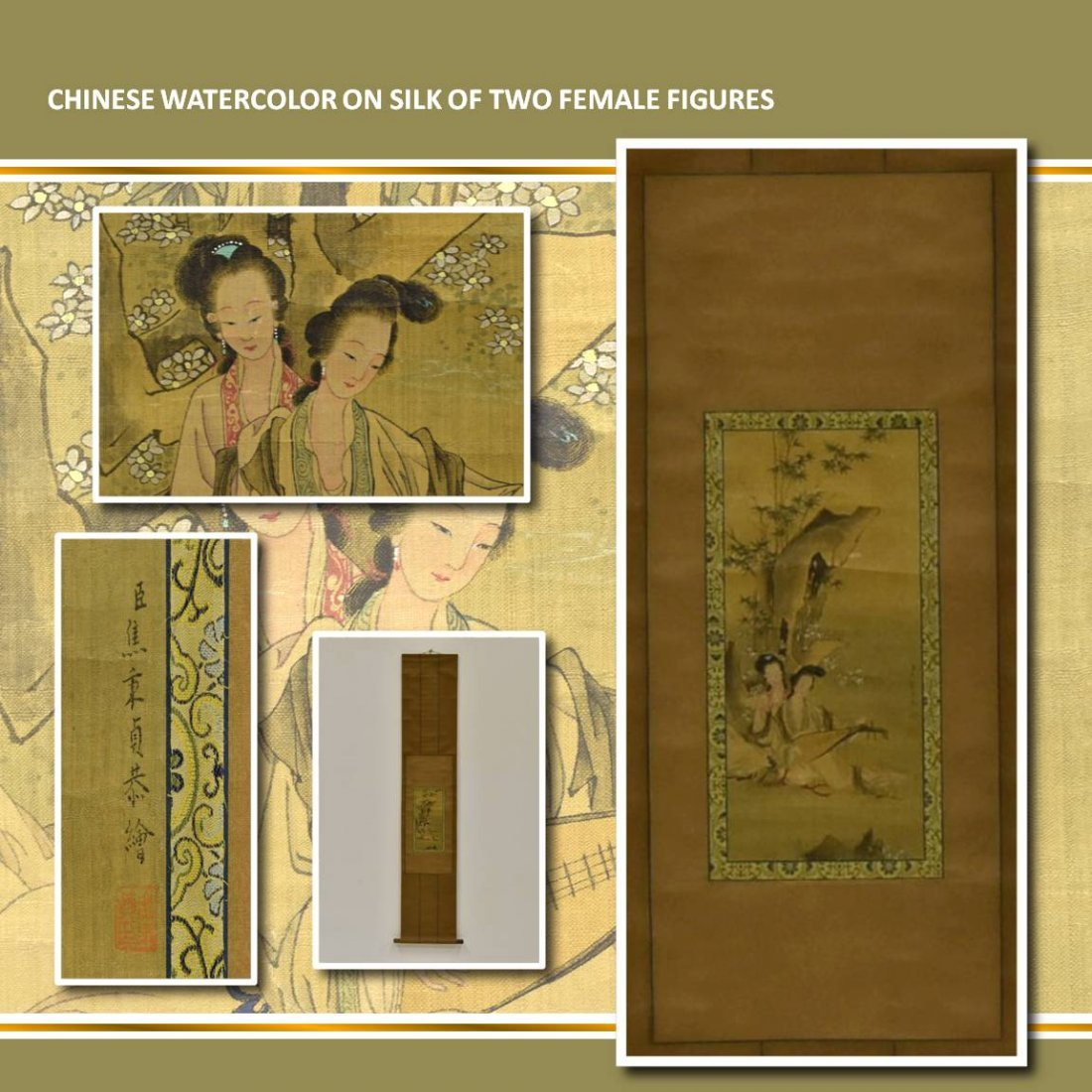CHINESE WATERCOLOR ON SILK OF TWO FEMALE FIGURES
