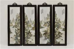 SET OF FOUR FRAMED CHINESE PORCELAIN PAINTINGS