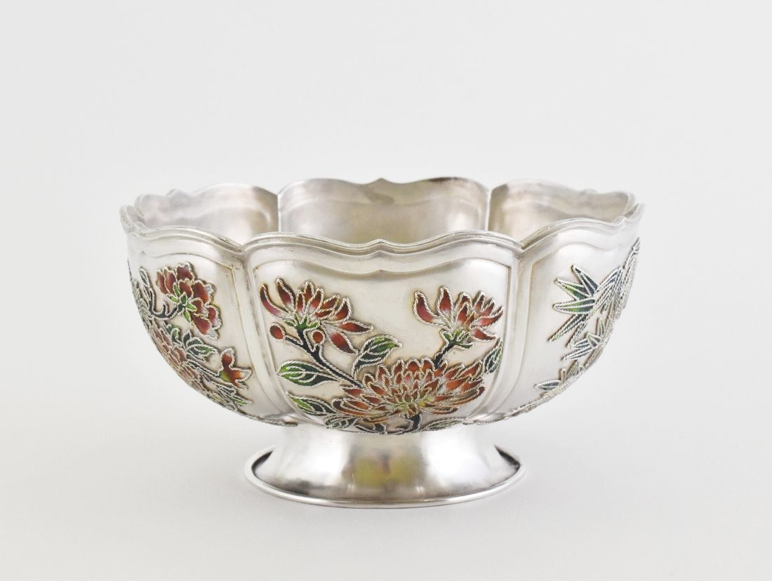 19TH C. CHINESE EXPORT SILVER ENAMEL FLORAL RIM BOWL