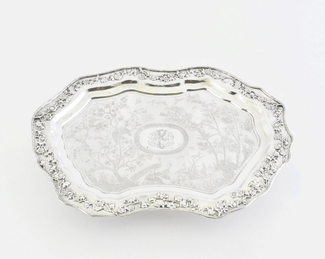 19/20TH C. CHINESE EXPORT SILVER TRAY, LUEN WO