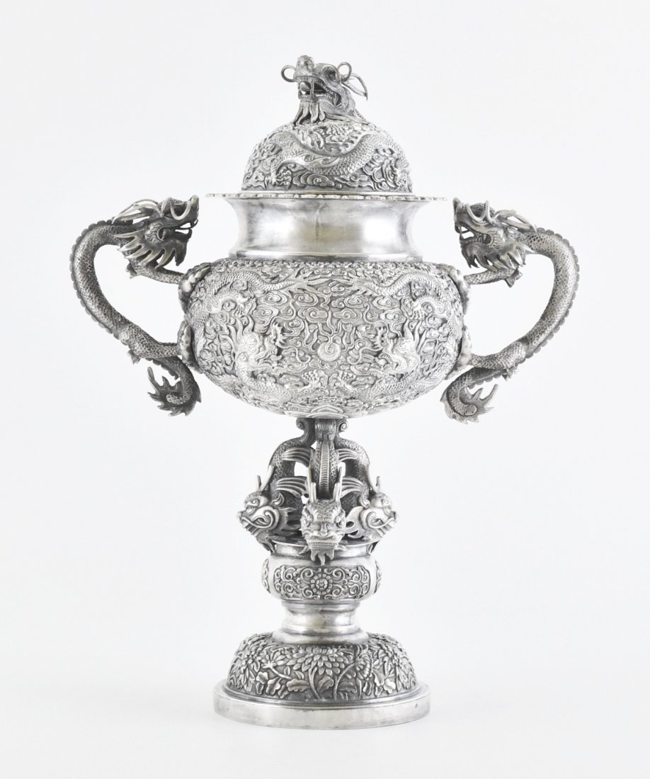 19TH C. CHINESE EXPORT SILVER REPOUSSED DRAGONS GOBLET