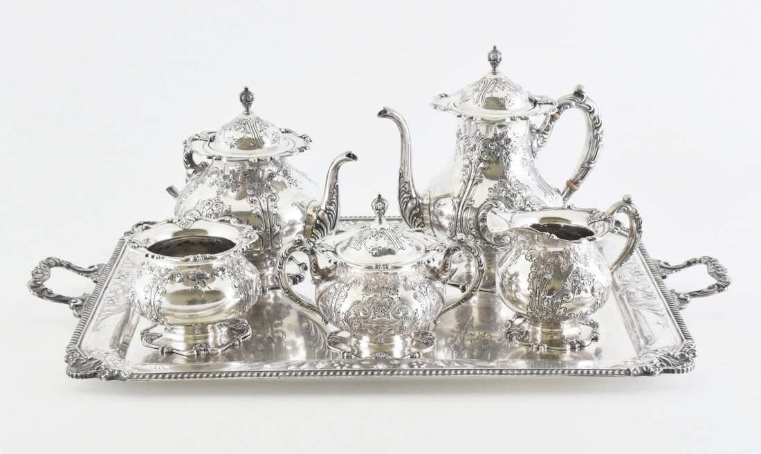 19/20TH C. SET OF 6 PCS FRANK WHITING SILVER TEA SETS