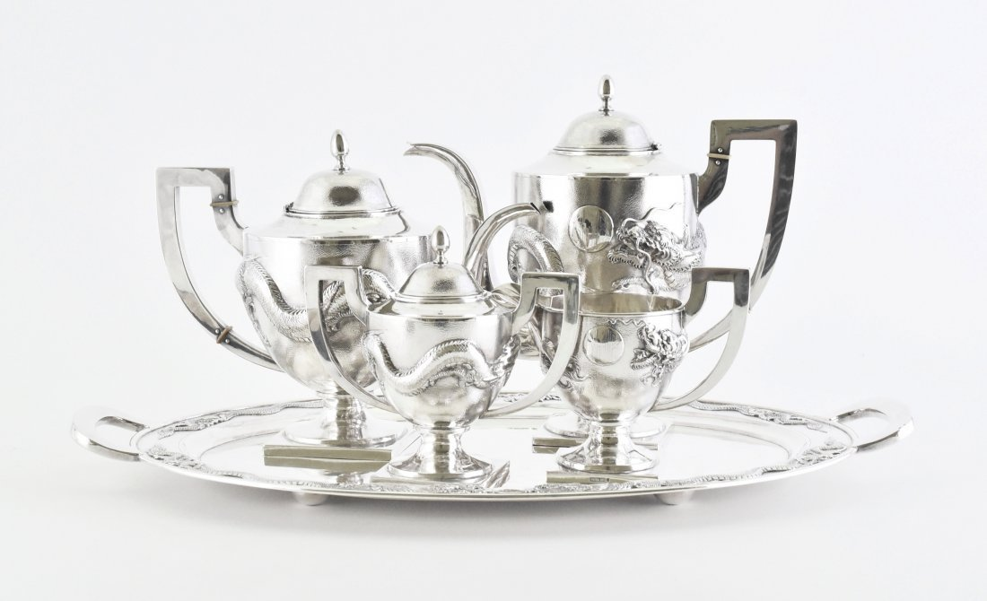 19/20TH C. CHINESE SILVER TEA AND COFFEE SERVICE