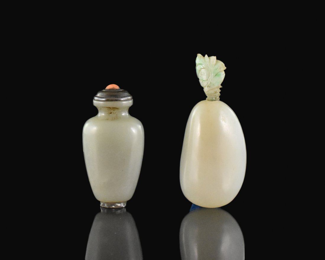 SET OF 2 PCS 19TH C. CARVED CHINESE JADE SNUFF BOTTLES