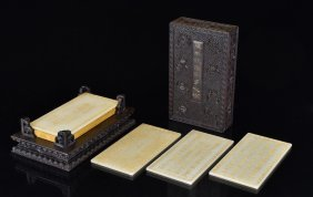 RARE, CARVED JADE WITH GILT LETTERING PRAYER TABLETS IN