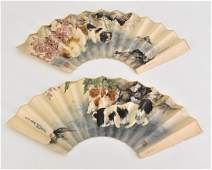 18TH C SET OF 2 PCS  CHINESE FAN PAINTINGS WITH DOGS