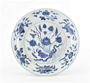 VERY FINE CHINESE MING BLUE AND WHITE LOTUS PLATE