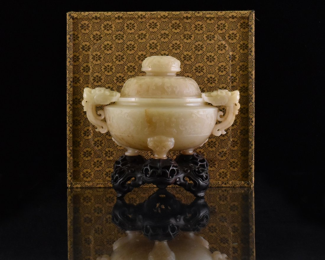 VERY FINE CHINESE JADE COVERED TRIPOD CENSER IN BOX