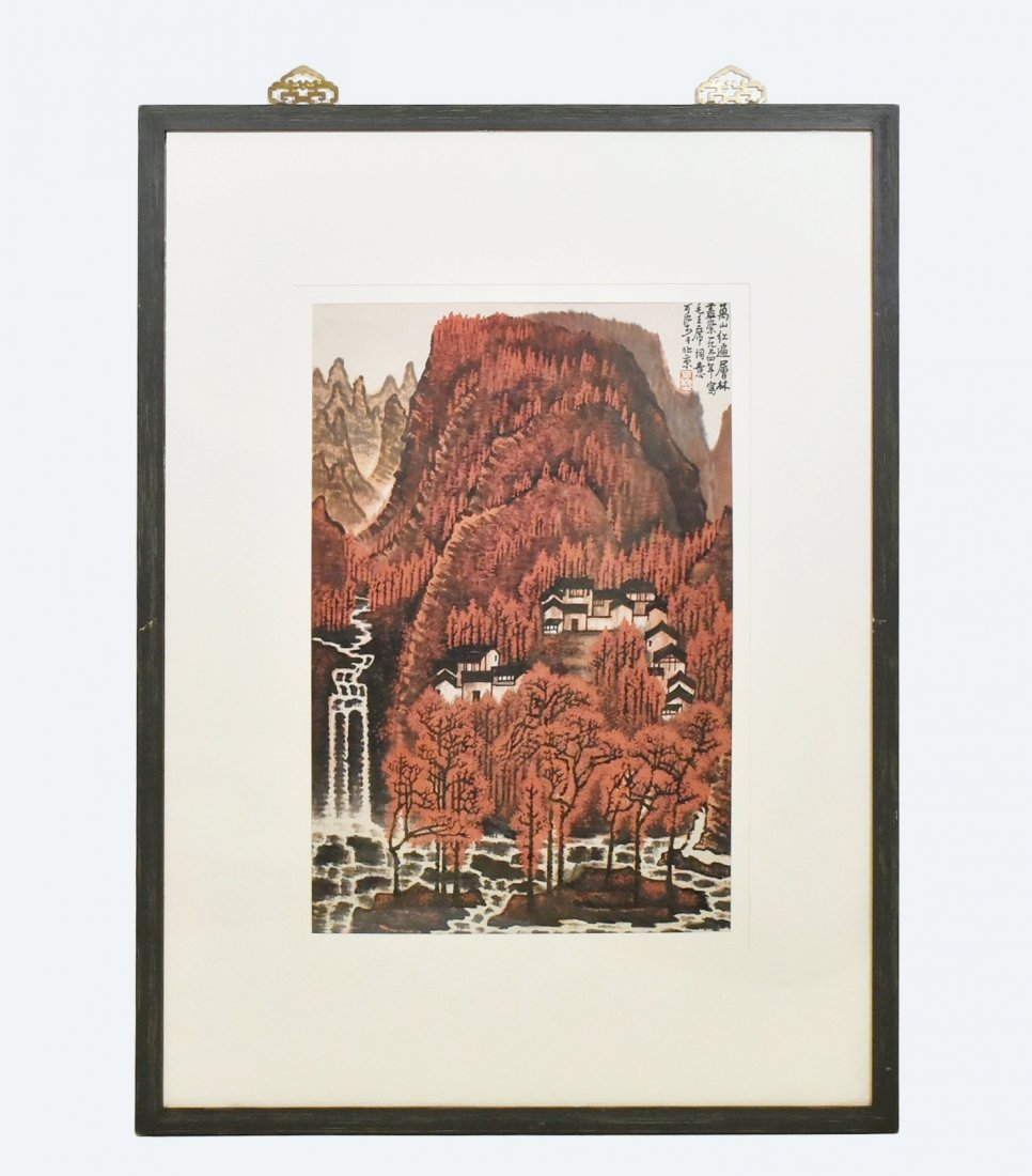 LI KE RAN (1907-1989), RED AUTUMN FOREST, FRAMED