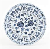 MASSIVE FINE MING BLUE AND WHITE  PEONY CHARGER