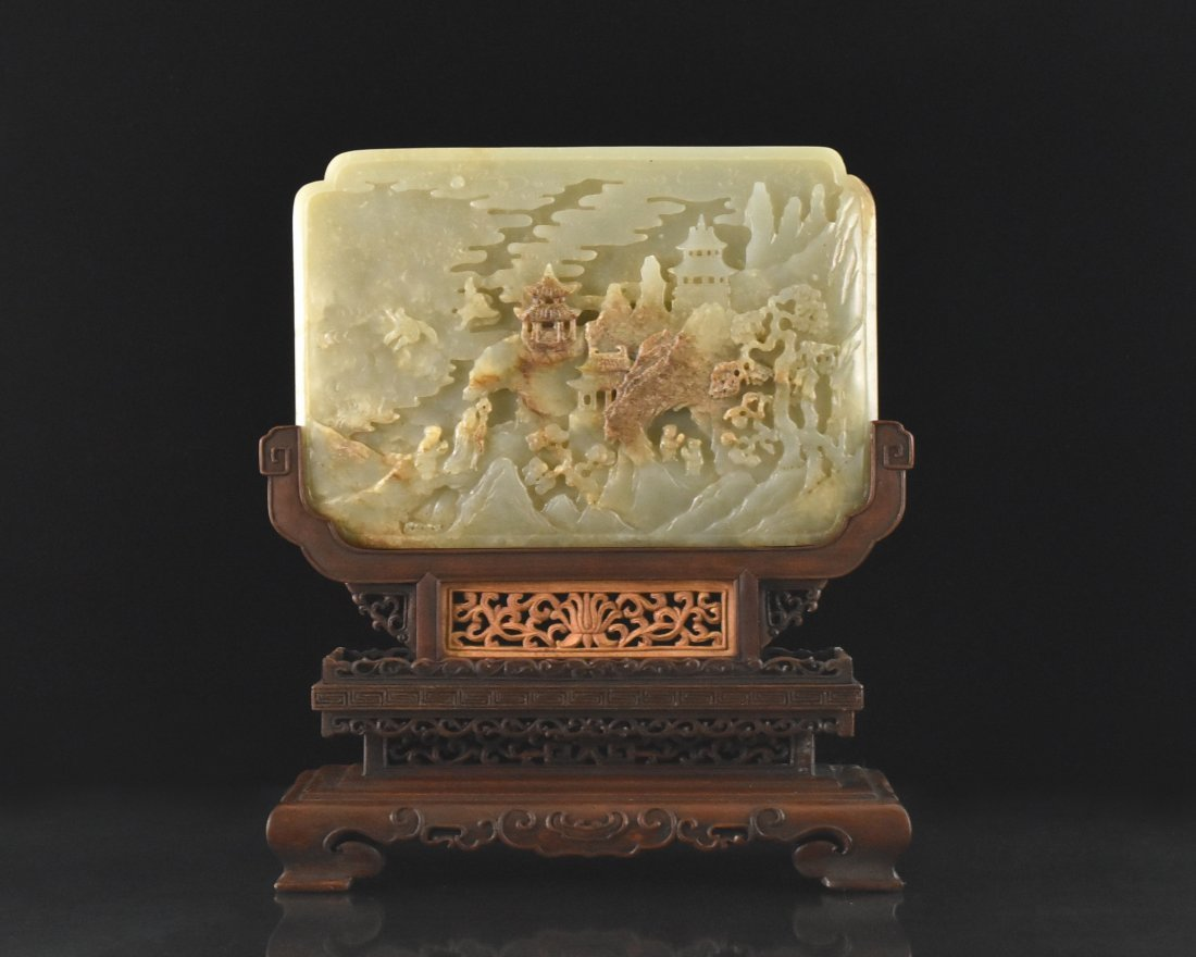 CARVED CHINESE JADE TABLE SCREEN ON FRAME STAND
